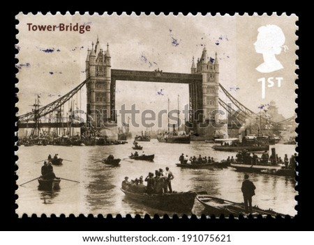 UNITED KINGDOM - 2002: A Postage Stamp from the UK containing a vintage image of Tower Bridge in London, circa 2002.