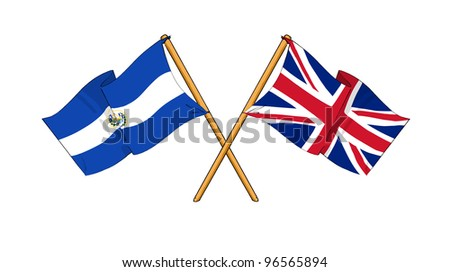 United Kingdom and El Salvador alliance and friendship - stock photo