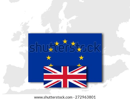 United Kingdom and European Union Flag with Europe map background - stock photo