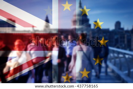 United Kingdom and European union flags combined for the 2016 referendum - crowd of people walking on Millenium Bridge and St Paul's Cathedral in the bckground - stock photo