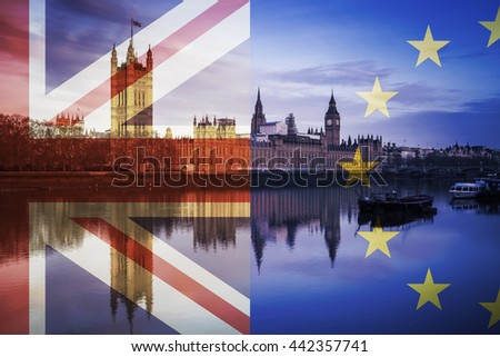 United Kingdom and European Union flags over the Houses of Parliament and Big Ben in London, England - stock photo