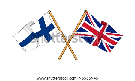 United Kingdom and Finland alliance and friendship - stock photo