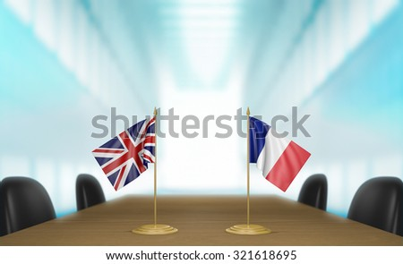 United Kingdom and France relations and trade deal talks 3D rendering - stock photo
