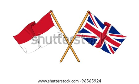 United Kingdom and Indonesia alliance and friendship - stock photo