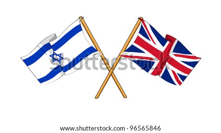 United Kingdom and Israel alliance and friendship - stock photo