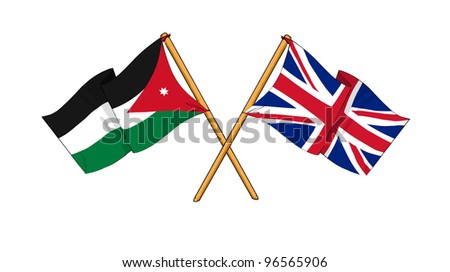United Kingdom and Jordan alliance and friendship - stock photo