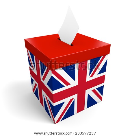 United Kingdom ballot box for collecting election votes in the UK or Britain - stock photo