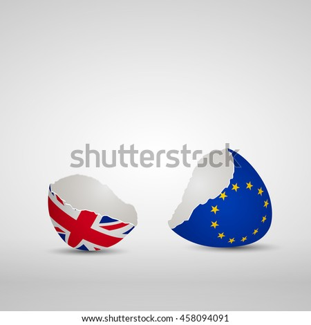United Kingdom Brexit Cracked eggs - stock photo