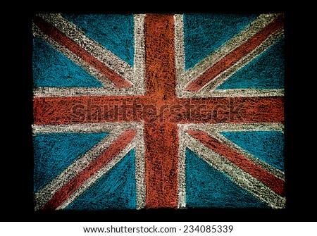 United Kingdom (British Union jack) flag, hand drawing with chalk on blackboard isolated on black background, vintage concept - stock photo