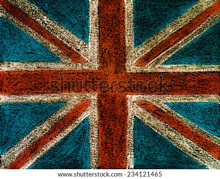 United Kingdom (British Union jack) flag, hand drawing with chalk on blackboard, vintage concept - stock photo