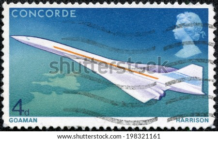UNITED KINGDOM - CA. 1969: Postage stamp ca. 1969 showing the supersonic Concorde aircraft which entered official service not until 1976 and lasted till 2003 - stock photo