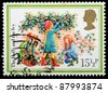 UNITED KINGDOM - CIRCA 1982: A British Used Christmas Postage Stamp showing the Christmas Carol The Holly and the Ivy, circa 1982 - stock photo
