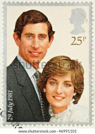 UNITED KINGDOM - CIRCA 1981: A British Used Postage Stamp celebrating the Royal Wedding of Prince Charles and Lady Diana Spencer, circa 1981 - stock photo