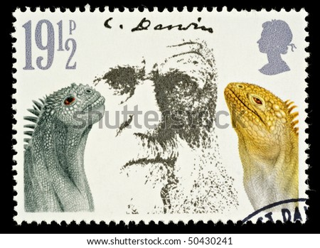 UNITED KINGDOM - CIRCA 1981: A British Used Postage Stamp Showing Charles Darwin and Marine Iguanas, circa 1981