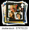 UNITED KINGDOM - CIRCA 2007: A British Used Postage Stamp showing The Beatles Pop Group Album Cover, circa 2007 - stock photo