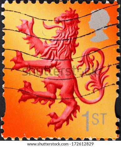 UNITED KINGDOM - CIRCA 2003: A postage stamp printed in the Scotland shows Scottish Lion emblem , circa 2003