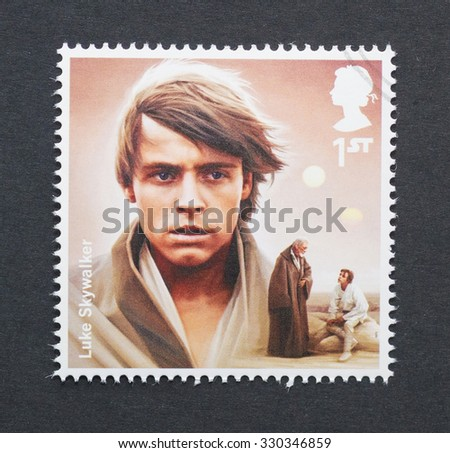 UNITED KINGDOM - CIRCA 2015: a postage stamp printed in United Kingdom commemorative of Star Wars movie with Luke Skywalker character, circa 2015.  - stock photo