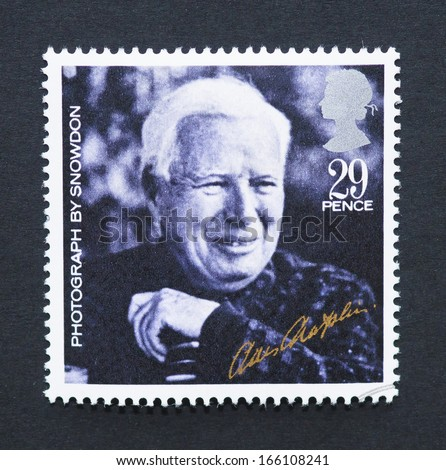 UNITED KINGDOM - CIRCA 1985: a postage stamp printed in United Kingdom showing an image of Charles Chaplin, circa 1985.  - stock photo