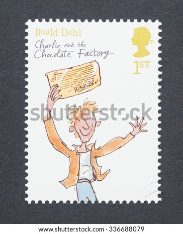 UNITED KINGDOM - CIRCA 2012: a postage stamp printed in United Kingdom showing an image of Roald Dahl book Charlie and the Chocolate Factory, circa 2012.  - stock photo