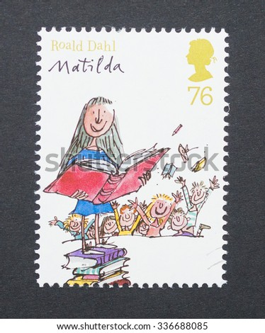 UNITED KINGDOM - CIRCA 2012: a postage stamp printed in United Kingdom showing an image of Roald Dahl book Matilda, circa 2012.  - stock photo
