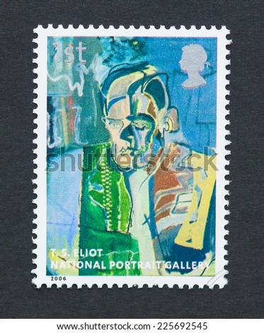 UNITED KINGDOM - CIRCA 2006: a postage stamp printed in United Kingdom showing an image of sir T. S. Eliot, circa 2006.