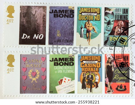 UNITED KINGDOM - CIRCA 2008: A set of two stamps printed by GREAT BRITAIN shows images of covers of James Bond Doctor No and Casino Royale novels by Ian Fleming, circa 2008. - stock photo