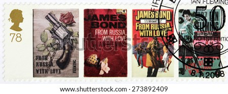 UNITED KINGDOM - CIRCA 2008: A set of two stamps printed by GREAT BRITAIN shows images of covers of James Bond novel From Russia with Love by English author Ian Fleming, circa 2008. - stock photo