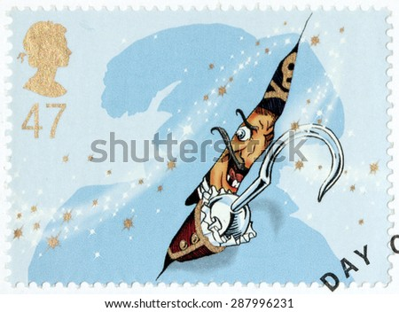 UNITED KINGDOM - CIRCA 2002: A stamp printed by GREAT BRITAIN shows Captain Hook from Peter Pan stories. Peter Pan is a character created by Scottish novelist and playwright JM Barrie, circa 2002. - stock photo