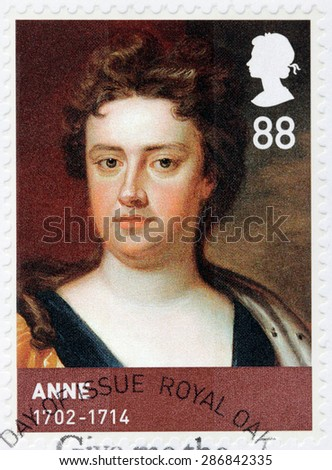 UNITED KINGDOM - CIRCA 2010: A stamp printed by GREAT BRITAIN shows image portrait of Anne of Great Britain - Queen of England, Scotland, and Ireland , circa 2010 - stock photo
