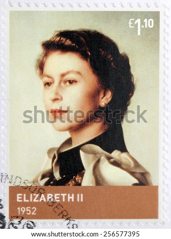 UNITED KINGDOM - CIRCA 2012: A stamp printed by GREAT BRITAIN shows image portrait of Elizabeth II - Queen of the United Kingdom and the other Commonwealth realms, circa 2012 - stock photo