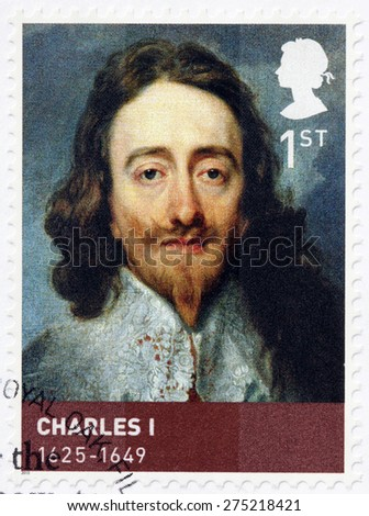 UNITED KINGDOM - CIRCA 2010: A stamp printed by GREAT BRITAIN shows image portrait of King Charles I - monarch of the three kingdoms of England, Scotland, and Ireland, circa 2010 - stock photo