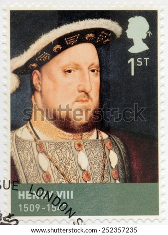 UNITED KINGDOM - CIRCA 2009: A stamp printed by GREAT BRITAIN shows image portrait of  king Henry VIII of England. Henry was the second monarch of the Tudor dynasty, circa 2009 - stock photo