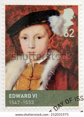 UNITED KINGDOM - CIRCA 2009: A stamp printed by GREAT BRITAIN shows image portrait of  King of England and Ireland Edward VI. Edward was the third monarch of the Tudor dynasty, circa 2009 - stock photo