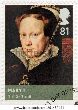 UNITED KINGDOM - CIRCA 2009: A stamp printed by GREAT BRITAIN shows image portrait of Queen of England Mary I sometimes called Bloody Mary. Portrait by Antonis Mor, circa 2009 - stock photo