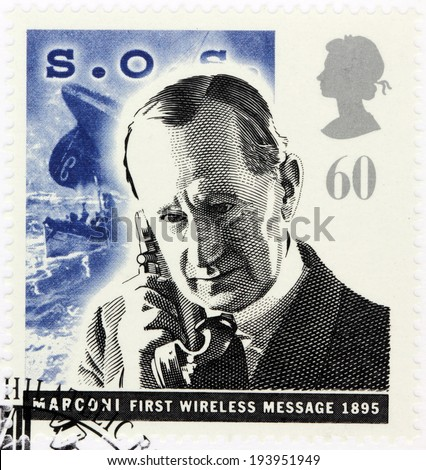 UNITED KINGDOM - CIRCA 1995: A stamp printed by GREAT BRITAIN shows portrait of Italian inventor Guglielmo Marconi, known for his pioneering work on long-distance radio transmission circa, 1995