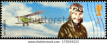 UNITED KINGDOM - CIRCA 2003: a stamp printed by UNITED KINGDOM shows image portrait of British aviator Amy Johnson who set numerous long-distance records, circa 2003.