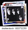 UNITED KINGDOM - CIRCA 2007: A stamp printed in British showing The Beatles Pop Group Album Cover, circa 2007 - stock