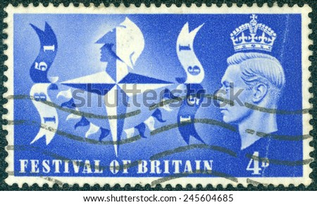 UNITED KINGDOM - CIRCA 1951: A stamp printed in England, is dedicated to Festival of Britain, shows the symbol of the festival and King Georg VI, circa 1951 - stock photo