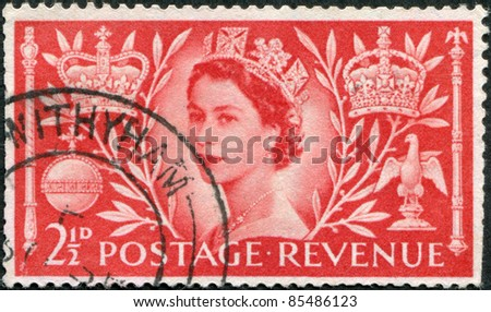 UNITED KINGDOM - CIRCA 1953: A stamp printed in England, is dedicated to the coronation of Queen Elizabeth II, circa 1953 - stock photo