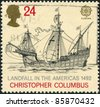 "UNITED KINGDOM - CIRCA 1992: A stamp printed in England, is dedicated to the 500th anniversary of the discovery of America, shows the flag-ship, Christopher Columbus ""Santa Maria"", circa 1992 - stock photo"