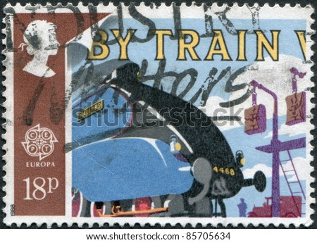 UNITED KINGDOM - CIRCA 1988: A stamp printed in England, is dedicated to Transportation and communication, shows Mallard locomotive, circa 1988