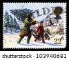 UNITED KINGDOM - CIRCA 1991: A stamp printed in England, shows a village Christmas scene, Christmas tree, circa 1991. - stock photo