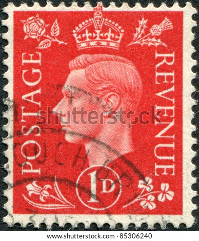 UNITED KINGDOM - CIRCA 1941: A stamp printed in England, shows George VI of the United Kingdom, circa 1941