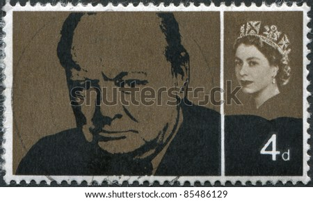 UNITED KINGDOM - CIRCA 1965: A stamp printed in England, shows Sir Winston Spencer Churchill, statesman and WWII leader, circa 1965 - stock photo
