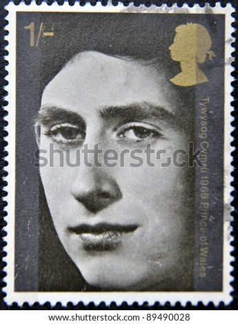 UNITED KINGDOM - CIRCA 1969: A stamp printed in Great Britain dedicated to investiture of H.R.H. The Prince of Wales, circa 1969 - stock photo