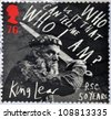 UNITED KINGDOM - CIRCA 2011: a stamp printed in Great Britain shows a scene of the movie King Lear, in his 50 years in the story written by William Shakespeare, circa 2011 - stock photo