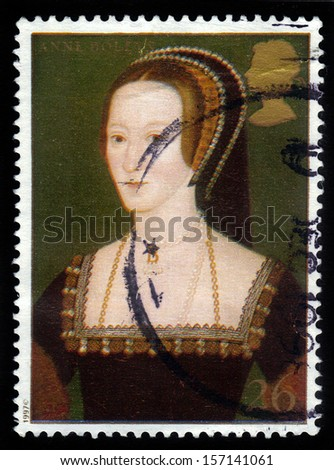 UNITED KINGDOM - CIRCA 1997: A stamp printed in Great Britain shows Anne Boleyn, wife of Henry VIII, series, circa 1997 - stock photo