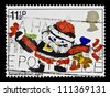 """UNITED KINGDOM - CIRCA 1981: A stamp printed in Great Britain, shows Children's  Picture of Father Christmas, without inscription, from the series """"Christmas"""", circa 1981 - stock photo"""