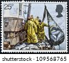 UNITED KINGDOM - CIRCA 1981: A stamp printed in Great Britain shows Hoisting Seine Net, fishing, circa 1981 - stock photo