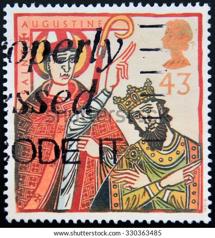 UNITED KINGDOM - CIRCA 1997: a stamp printed in Great Britain shows St Augustine of Canterbury with Ethelbert, King of Kent, circa 1997 - stock photo